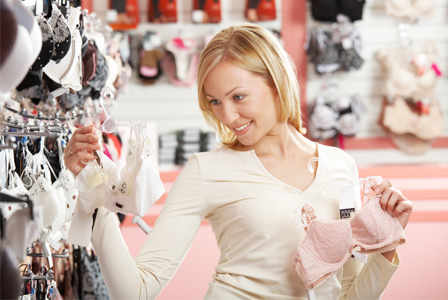 Woman shopping for bras