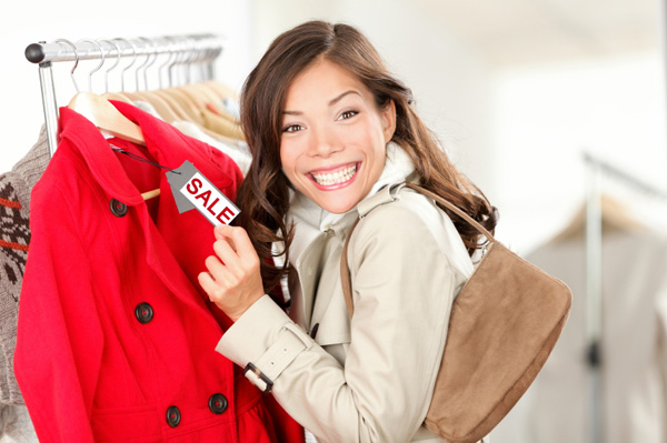 Woman shopping for coat after Christmas