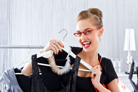 Woman shopping for dress