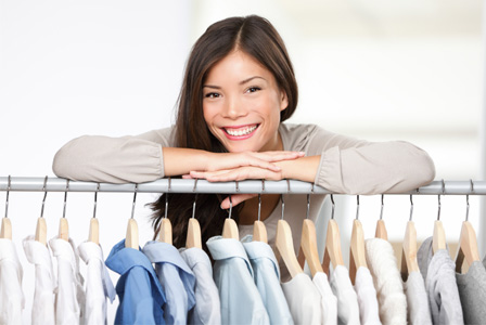 Woman shopping for fall clothes