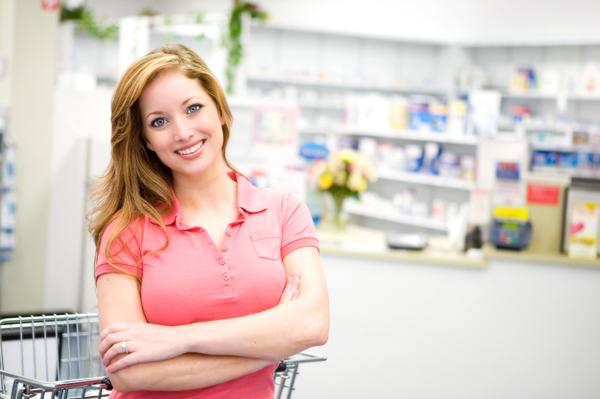 Woman at pharmacy
