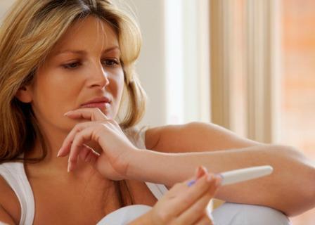 Woman upset at negative pregnancy test