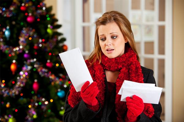 Woman upset with Christmas bills