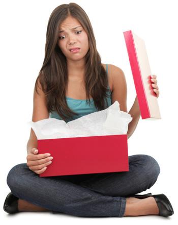 Woman upset with Christmas gift