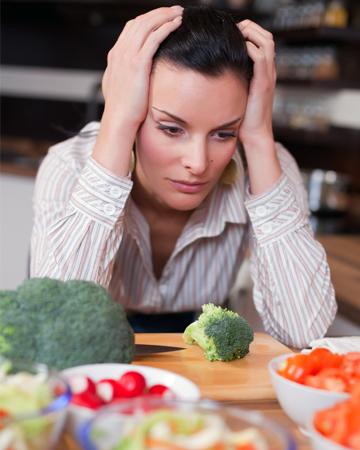 Woman looking at health food