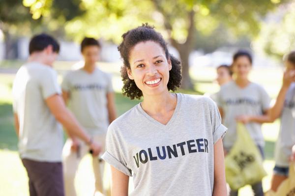 Woman volunteering in park