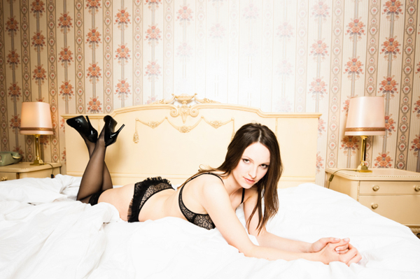 Woman wearing bra and panties
