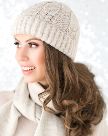 Woman wearing bronzer in winter