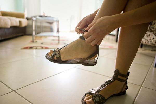Woman wearing gladiator sandal