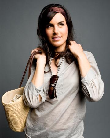 Woman wearing product picks