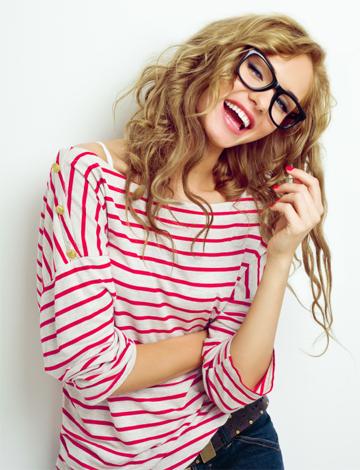 Woman wearing a striped shirt