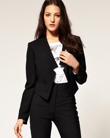 Woman wearing tuxedo jacket to work
