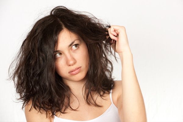 Woman with bad hair
