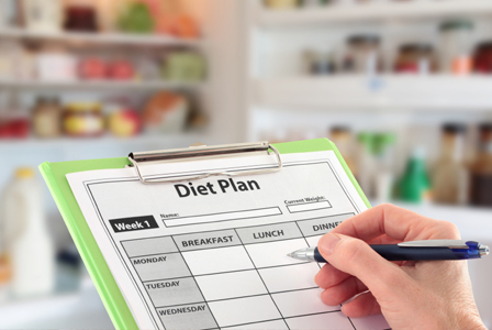 Woman with diet plan