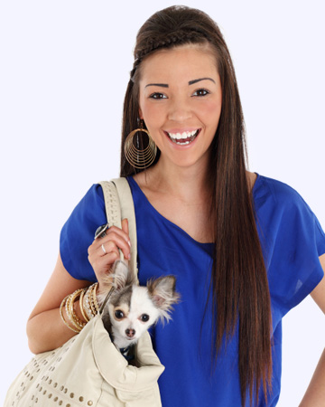 Woman with dog carrier