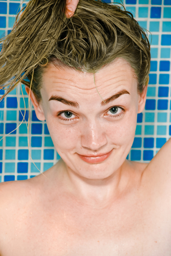 Woman with green hair from swimming