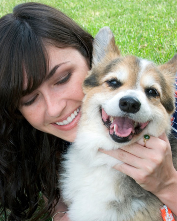 Happy woman with dog