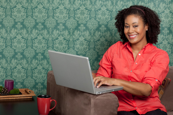Woman with mac laptop