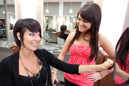 Woman at hair salon