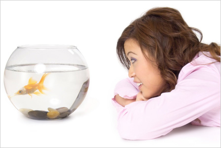 Woman with pet fish