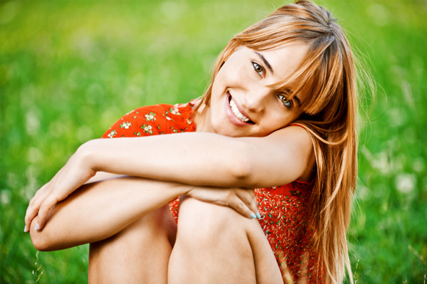 woman happy with her skin