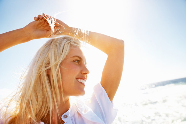 Woman with sunkist blonde hair