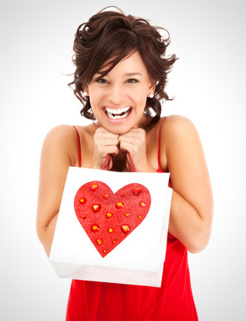 Woman with Valentine's Day Gift Bag