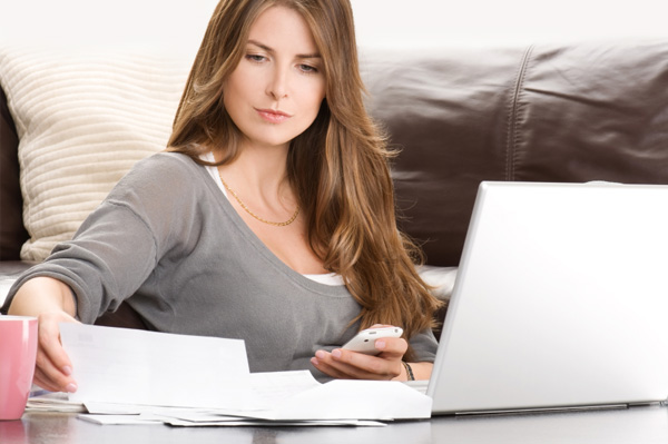 Woman looking at couple's finances