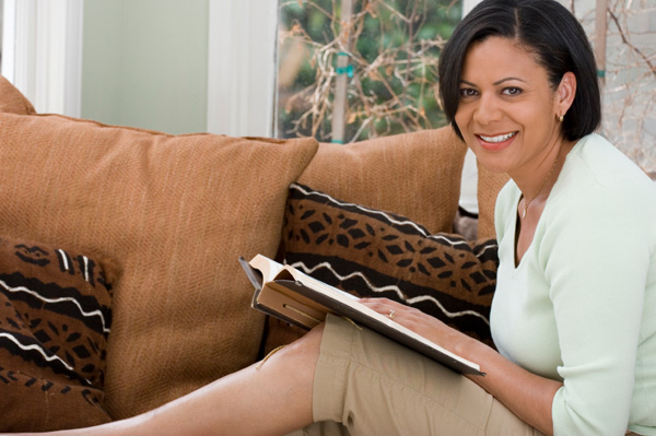 Woman journaling at home