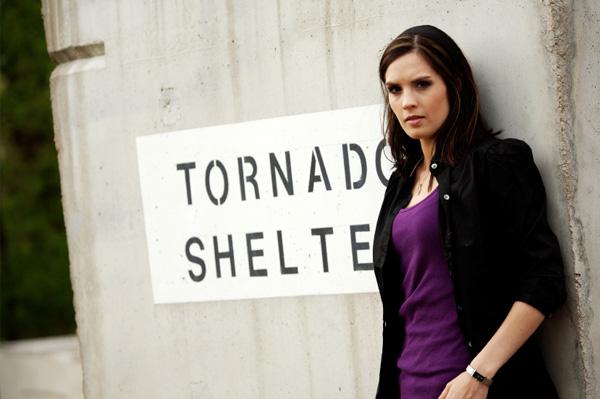 Woman in Tornado Shelter