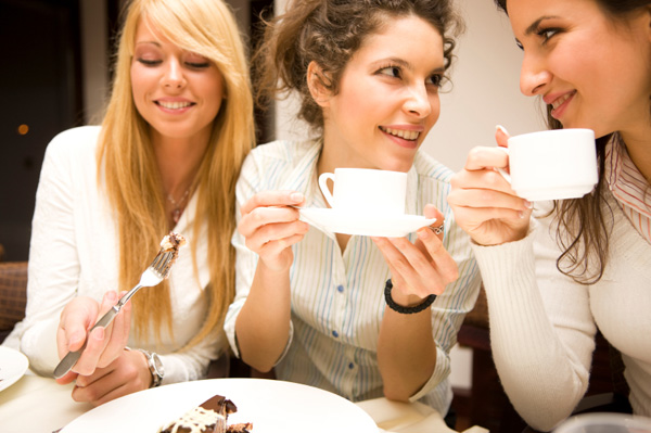 Woman having chocolate cake at party