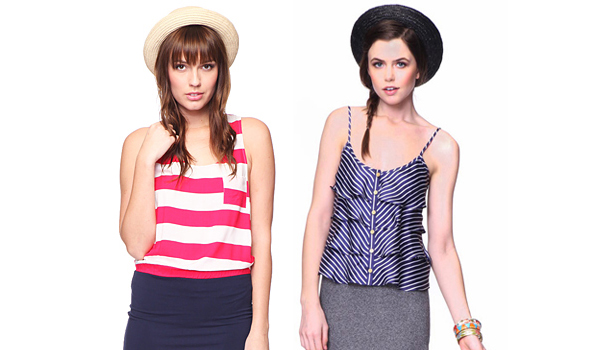 Women wearing nautical-themed outfits and accessories
