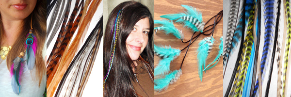 Women with hair feather clip-in extensions