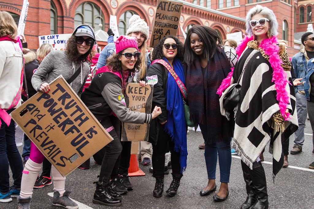 Why Women Marched: Deanna Dewey, Leah Taylor, Nikola Bergos, Elizabeth Dunbar, and Courtney Nichols