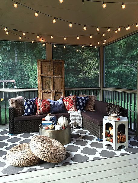 Porch with string lights hanging from the ceiling