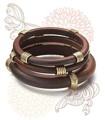 Chunky wooden bangles, $58 at Dillard's