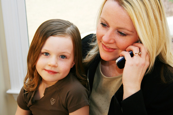 work at home mom with daughter