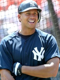 Alex Rodriguez of the American League champion Yankees