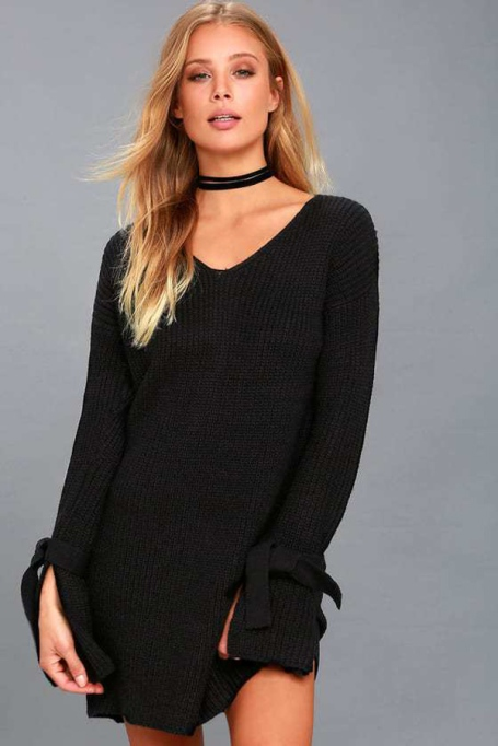 Must-Have Long Sleeve Dresses | Take A Breath Black Long Sleeve Knit Sweater Dress
