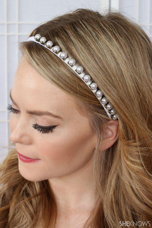 DIY white pearl studded headband