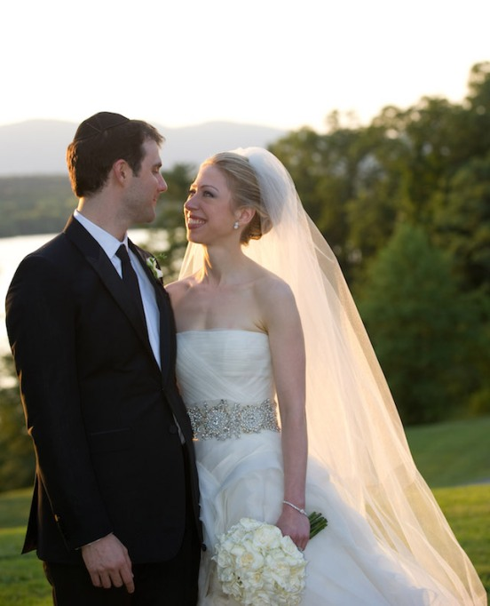Marc Mezvinsky and Chelsea Clinton pose during their wedding at the Astor Courts Estate