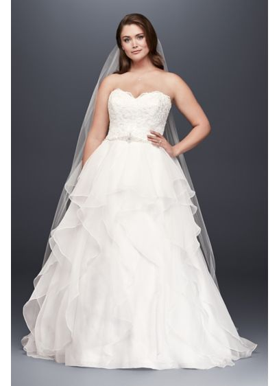 Strapless Lace and Organza Ball Gown Wedding Dress