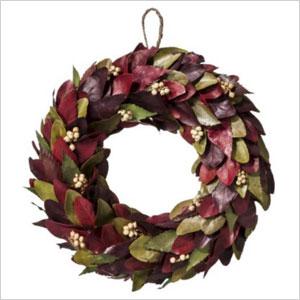 Dried leaf wreath