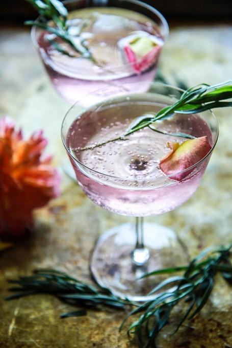 Rose tarragon gin lemonade