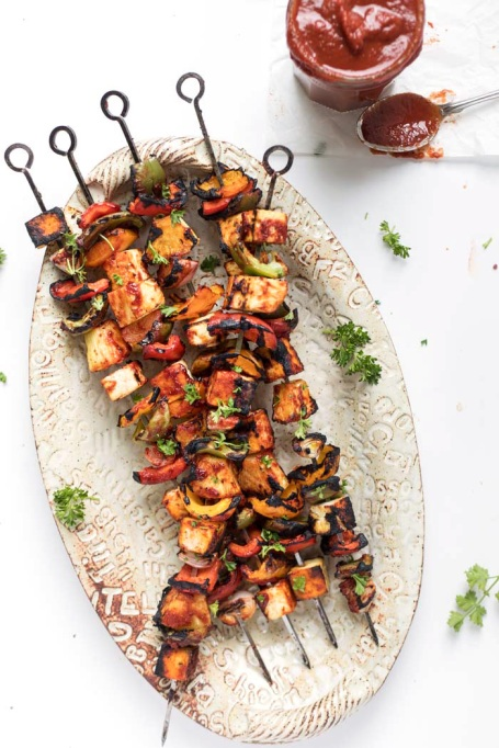 Barbecue Grilled Pineapple and Tofu Kebabs