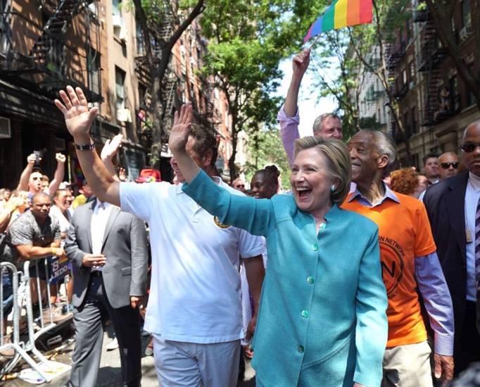 Hillary Clinton at a Gay Pride parade