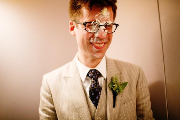 Cake face wedding photo