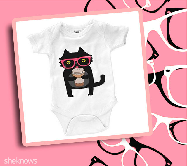 Baby hipster cat with coffee onesie