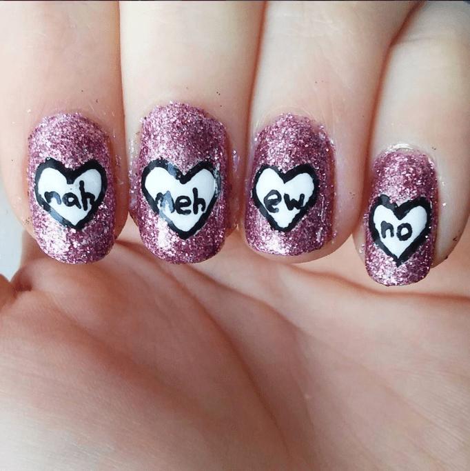 Anti-Valentine's Day nails