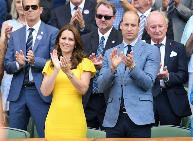 Catherine, Duchess of Cambridge and Prince William, Duke of Cambridge, attend the men's single final on day 13 of the Wimbledon Tennis Championships
